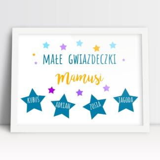Rodzinny plakat dla mamusi na dzień matki personalizowany z imionami dzieci