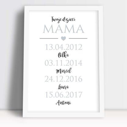 Dzień matki prezent od dzieci personalizowany plakat z imionami dzieci w białej ramie