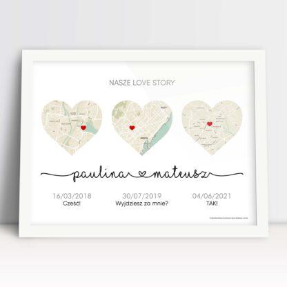 ozdobny plakat dla nowożeńców z historią miłości na mapach