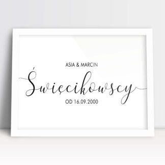Ozdobny plakat małżeństwa nazwisko młodej pary z imiona zakochanych i datą ślubu