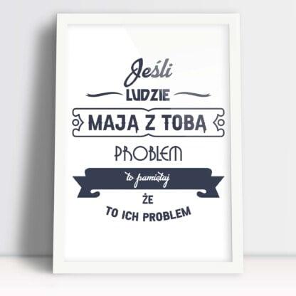 Plakat dla kobiet z śmiesznym hasłem w białej ramce