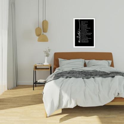 Plakat dla męża i żony do powieszenia w sypialni z napisem miłość