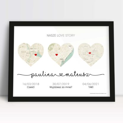 Plakat dla męża i żony z mapami w sercach i ważnymi miejscami dla zakochanej pary