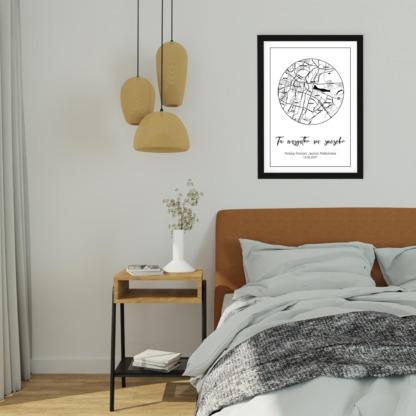plakat dla nowożeńców z mapą miłości i ważną datą