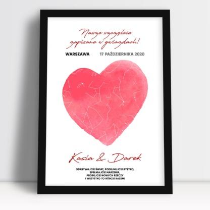 Plakat dla pary młodej personalizowany serce imiona i dedykacja