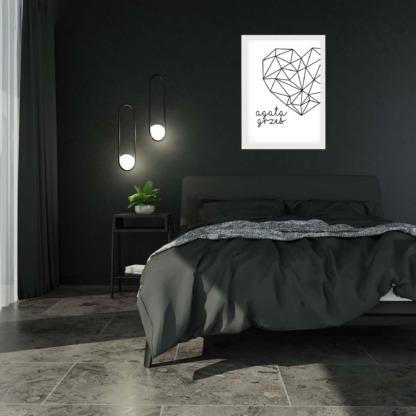 personalizowany plakat dla zakochanych geometryczne serce z imionami zakochanych