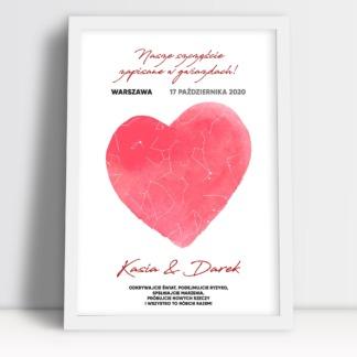 Plakat na walentynki dla zakochanych serce ważna data imiona i dedykacja