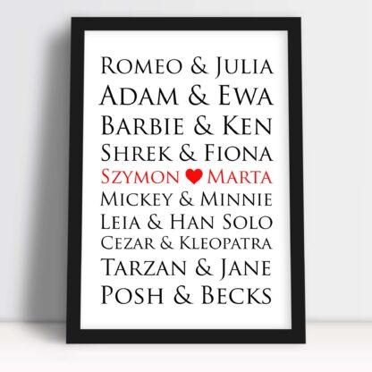 Plakat znana para dla zakochanych na walentynki