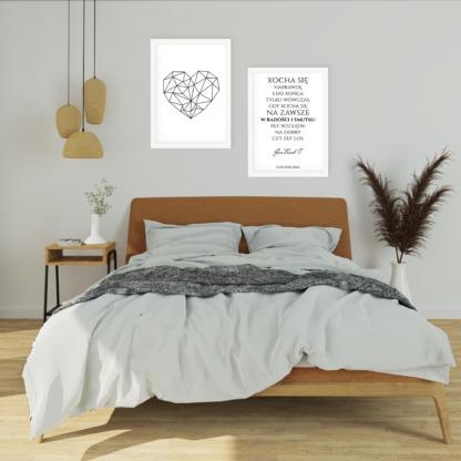 zestaw dwóch plakatów do sypialni dla zakochanych geometryczne serce i cytat Jana Pawła II o miłości