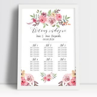 Plan stołów weselnych, rozkład i lista gości na wesele. Tablica z planem stołów na salę weselną